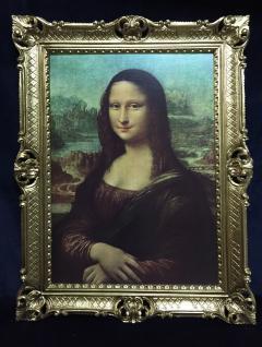 Gemälde Mona Lisa von Leonardo da Vinci barock 90x70 Bild mit Rahmen gold Antik - Vorschau 2