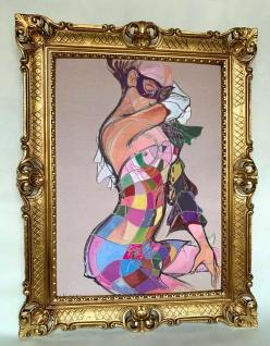 Gemälde Frau in Maske Harlekin Kunstdruck Bild mit Rahmen 90x70 Wandbild 50x70
