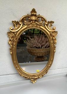 Barock Wandspiegel Gold Oval Spiegel Antik Rokoko Badspiegel 49x32 Shabby Prunk - Vorschau 2