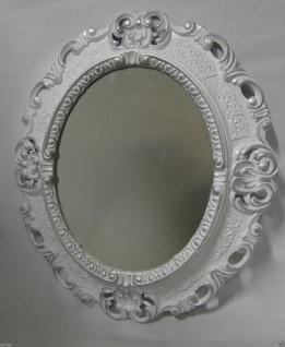 Wandspiegel Weiß-silber Oval Landhaus Antik Badspiegel Barock 45x37 Shabby Neu - Vorschau 4