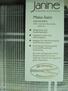 Janine Mako Satin Bettwäsche 135x200 Bettgarnitur Kariert Taube Baumwolle - Vorschau 4