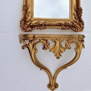 Wandkonsole Antik Gold Barock Konsole 56x45 ANTIK Wandspiegelkonsole Wandregal - Vorschau 5
