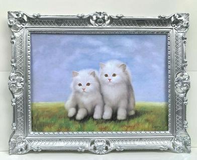 Bild mit Rahmen Katze 90x70 Katzen Gemälde Barock Wandbild Tiere Kunstdruck Bild
