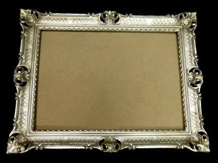 Bilderrahmen Schutzglas transparent Barock Antik Silber groß 70x90 Rechteckig