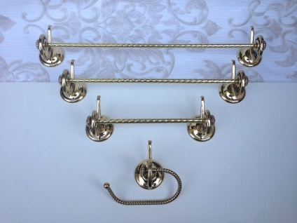Handtuchhalter Gold Messing Barock Badaccessoires Wc toilette Bad Klassik Luxus