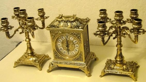2 Kerzenständer 5 armig & Kaminuhr Messing Antik Uhr DEKO GOLD kaminset 82108B - Vorschau 4