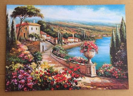 Kunstdruck Bild Landschafts Blumen Bild 25x35 Haus am See auf MDF