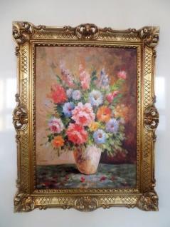Gemälde Rosen Gerahmte Wilde Blumen in Vase Gelb 90x70 Blumen Bild mit Rahmen 96