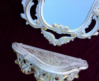 Wandkonsole Weiß Gold mit Wandspiegel Antik Barock 50x76 Wandregal Badspiegel