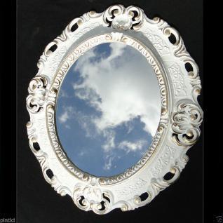 Wandspiegel Spiegel BAROCK Antik WEIß- GOLD 45x38 Oval Badspiegel 103045