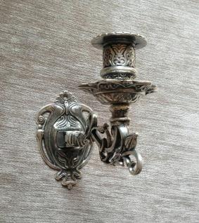 Antik Silber Wandkerzenhalter, Wandleuchter Klavier, Messing brüniert, Barock