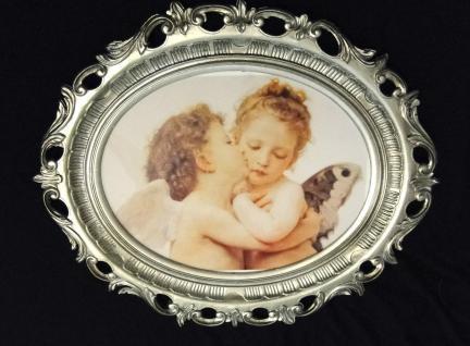 Bilderrahmen Silber Engel Motiv Schutzengel Engels-Kuss Bild 58x68 Engelbild