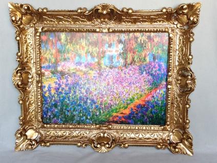 Bild mit Rahmen Gold Blumen Garten von Monet Wandbild 57x47 Blumenbild 11