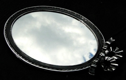 Wandspiegel Schwarz Silber Spiegel 57x41 BAROCK Oval massiv schleife Wanddeko 1