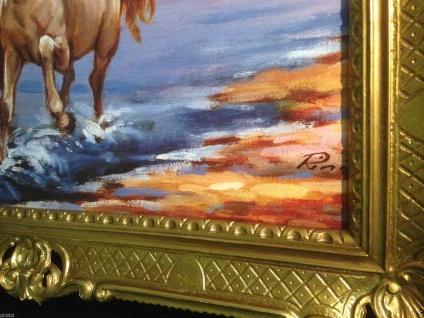 Gemälde Pferd Bild 90x70cm Barock Ölbild Kunstdruck Pferde am Meer Tiere Pferd 1 - Vorschau 5