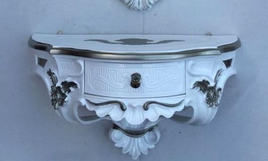 Wandkonsole Antik/Spiegelkonsolen mit SCHUBLADE/ BAROCK Weiß Silber B:50cm cp84
