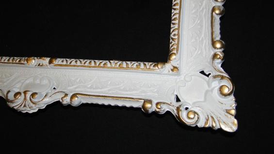 Bilderrahmen Barock Weiß Gold 56x46 Fotorahmen Spiegelrahmen Rechteckig 30x40