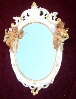 Wandspiegel Barock Weiß Gold Antik rokoko 50X32 Engel Flurspiegel Oval C445SBA