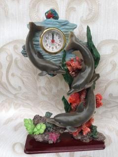 Pendeluhr Kaminuhr Tischuhr 31x20 Skulptur Figur Standuhr Delfin Uhr Fisch Deko