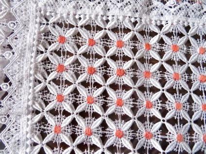 Spitzen Tischdecke 100x100 häkelspitze plauener weiß pink Spitze Polyester
