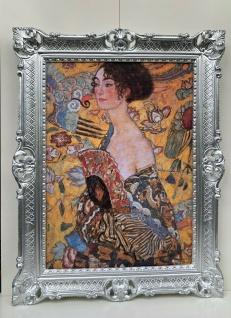 Barock Bild mit Rahmen 90x70 Gemälde Gustav Klimt Die Dame mit Fächer Kunstdruck