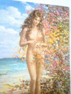 Nackte Frau Akt Frau Am Meer 50x35 Frau Erotik Bild Mit Mdf Platte Seestern - Vorschau 3