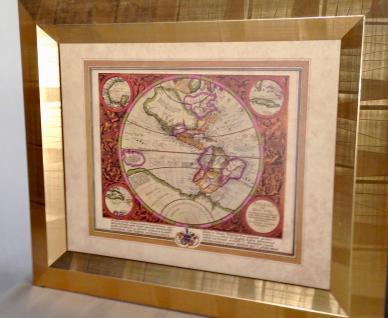 Weltkarte mit Rahmen 65x55 Gemälde Weltatlas Bilderrrahmen HOLZ Wandbild Antik - Vorschau 5