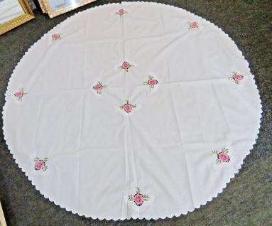 runde Tischdecke Weiss Pink 160 cm Blumen Muster Weiß mit Rosen Polyester NEU