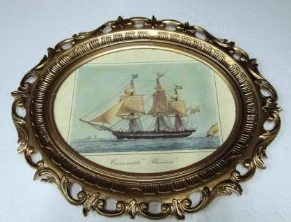 Segelschiff Gemälde Schiff phoceen Bild Bilderrahmen groß 58X68 Fotorahmen