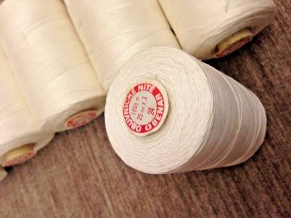 6 x Overlockgarn 25/3 Polyester Weiß Nähgarn 1000 M. Nähseide Nähmaschinengarn