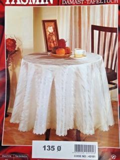 Tischdecke 135cm Rund Weiß Damast Marmor Design Polyester Tischtuch