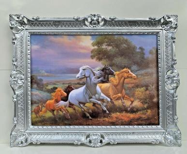 Bild mit Rahmen Gemälde Pferde Bilderrahmen Vintage 90x70cm Wilde Pferde Barock