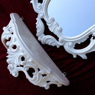 Wandspiegel Weiß Barock mit Wandkonsole 50X76 Spiegelablage Kommode Retro Repro - Vorschau 2