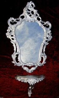 Wandspiegel mit Konsole M Silber Barock Spiegelablage Antik Wandkonsole Silber