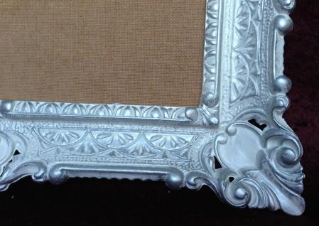 Bilderrahmen Jugendstil Weiß-Silber Antik Rechteckig 56x46 BAROCK 30x40 Rückwand - Vorschau 4