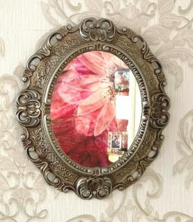 Wandspiegel 45x37 Oval Barock Bilderrahmen Antik Silber Fotorahmen Oval 24x30
