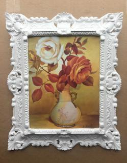 Bild mit Rahmen Weiß Blumen Rosen Bild Blumen Rechteckig 45x38 Barock 345 B6
