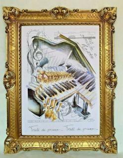 Gemälde Klavier Piano Music 50x70 Wandbild Gold 90x70 Musikinstrument Kunstdruck