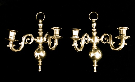 2 x Wandkerzenhalter, Kerzenleuchter Klavierleuchter, Messing mehrarmig Leuchter - Vorschau 5