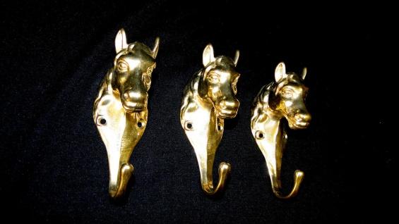 3x Wandhaken Messing Garderobenhaken Kleiderhaken Antik Gold Pferdekopf 13cm big