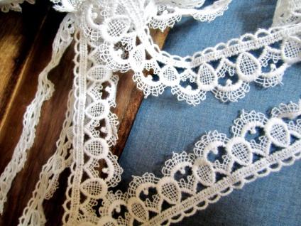 10 Meter Spitze Spitzenband 40mm Weiß guipure Borte Spitzenborte Baumwolle