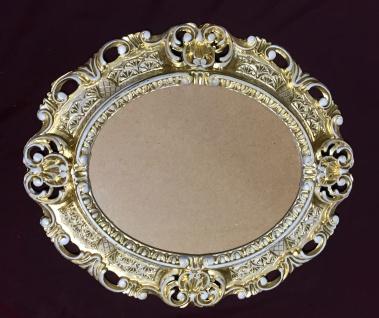 Bilderrahmen Barock Gold-Weiß Oval 45X37 Antik Fotorahmen Bilderrahmen mit Glas