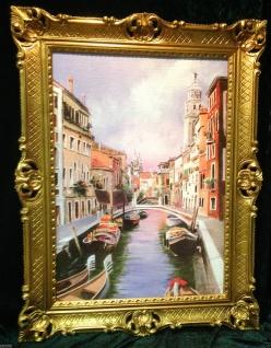 Venedig Brücke Boot Gerahmte Gemälde 90x70 Italien Venezia Venedig Gondel - Vorschau 1