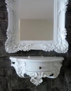 Wandspiegel Barock Weiß mit Konsole mit Schublade 50x27 Antik Badspiegel 96x57