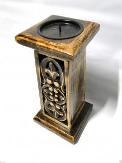 Kerzenhalter Holz Antik 26x14 Kerzenständer aus Mango Holz Kerzenhalter