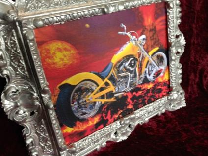 Wanbild Motorrad Chopper Gelb mit Rahmen Silber 45x38 Oldtimer Kraftrad Bild