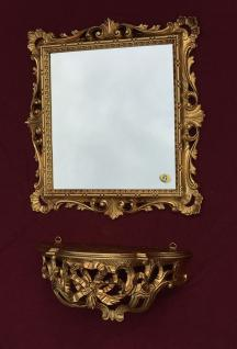 Wandspiegel mit Konsole Barock Gold mit Glas 38x36 Badspiegel Ablage Antik C533