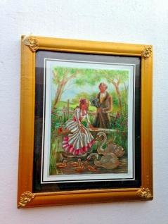 Bild mit Rahmen Schwan Schwäne Baby Romantisches Paar Holz optik Gold 31x26cm - Vorschau 2