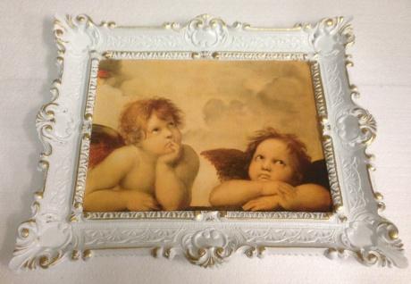 Bild mit Rahmen weiß-gold barock 56x46-30x40 Gemälde Antik Erzengel Raphael - Vorschau 2
