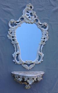Wandkonsole Weiß Gold mit Wandspiegel Antik Barock 50x76 Wandregal Badspiegel - Vorschau 2